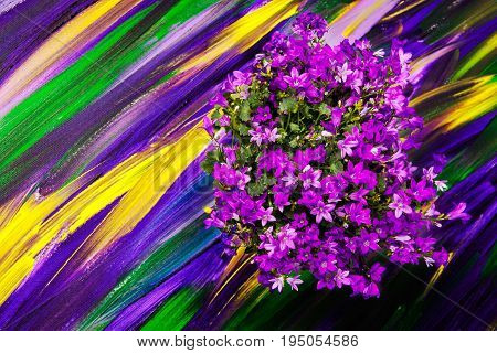 Flowers on a bright purple background painted on canvas