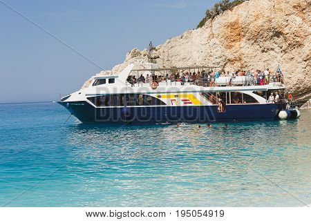 PORTO KATSIKI BEACH June 28,2017.  Tourist cruise ship at Porto Katsiki beach,Lefkada, Greece