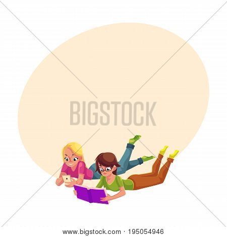 Two girls, one reading book, another playing with mobile phone, lying on floor, cartoon vector illustration with space for text. Women, girls reading book and using smartphone, mobile phone