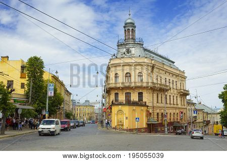 Chernivtsi Ukraine - 20 May 2017: Famous touristic place - the ship house in Chernivtsi Ukraine