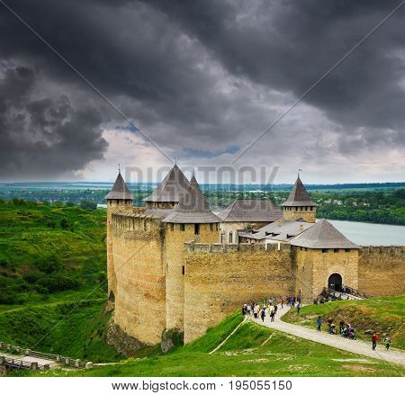 Khotyn Ukraine - 21 May 2017: Tourists visiting the Khotyn fortress Podillya Ukraine