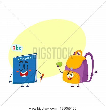 Cute and funny smiling backpack and notebook characters, back to school concept, cartoon vector illustration with space for text. Happy school bag, backpack and notebook characters, mascots