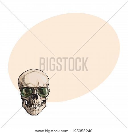Hand drawn human skull wearing green aviator sunglasses, sketch style vector illustration with space for text. Realistic hand drawing of skull wearing sunglasses
