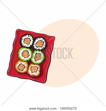 Plate of Japanese sushi set, top view hand drawing, sketch style vector illustration with space for tex. Sushi serving plate, Asian, Chinese, Japanese cuisine
