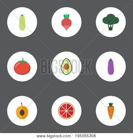 Flat Icons Root, Alligator Pear, Cabbage And Other Vector Elements. Set Of Berry Flat Icons Symbols Also Includes Love, Aubergine, Rooty Objects.