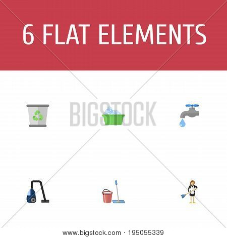 Flat Icons Laundry, Mopping, Faucet And Other Vector Elements. Set Of Cleaning Flat Icons Symbols Also Includes Mopping, Cleaner, Tap Objects.