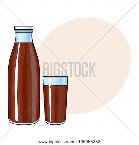 Side view drawing of bottle and glass with chocolate milk, cocoa drink, sketch vector illustration with space for text. Hand drawn bottle and glass full of chocolate milk
