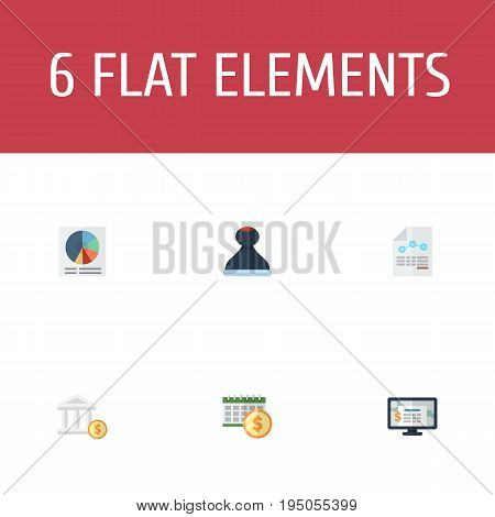 Flat Icons Pie Bar, Paper, Bank And Other Vector Elements. Set Of Accounting Flat Icons Symbols Also Includes Sheet, Model, Dollar Objects.