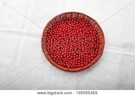 Close-up red currant in a crate on a silvery background. Healthful berries. Red currant  in a light brown wooden basket. Juicy raw currant.