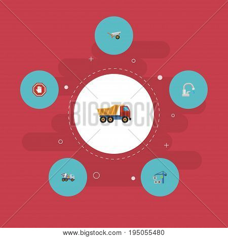 Flat Icons Handcart, Faucet, Cement Blender Vector Elements. Set Of Construction Flat Icons Symbols Also Includes Concrete, Water, Dumper Objects.