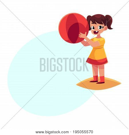 Cute little girl in short summer dress with inflatable ball standing on sandy beach, cartoon vector illustration with space for text. Little baby girl playing on beach with inflatable ball