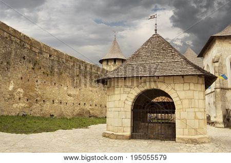 Khotyn Ukraine - 21 May 2017: Inside of the Khotyn castle in Ukraine. The castle well is located in the center of the territory.