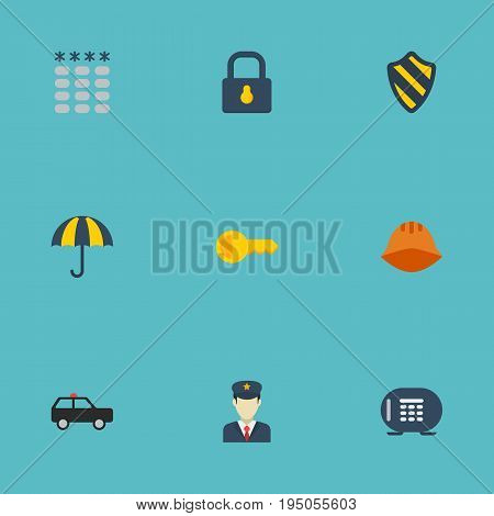 Flat Icons Clue, Padlock, Policeman And Other Vector Elements. Set Of Procuring Flat Icons Symbols Also Includes Keys, Armored, Padlock Objects.