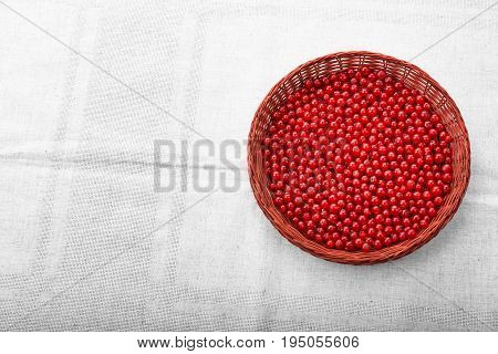 Fresh tasteful red currant in a wooden basket. Delicious vegan breakfast. A light brown basket on a gray piece of cloth. Nutritious fruit ingredient. Colorful red berries.