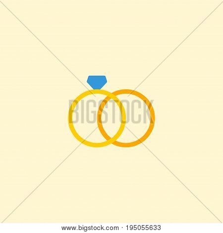 Flat Icon Ring Element. Vector Illustration Of Flat Icon Engagement  Isolated On Clean Background. Can Be Used As Ring, Wedding And Engagement Symbols.