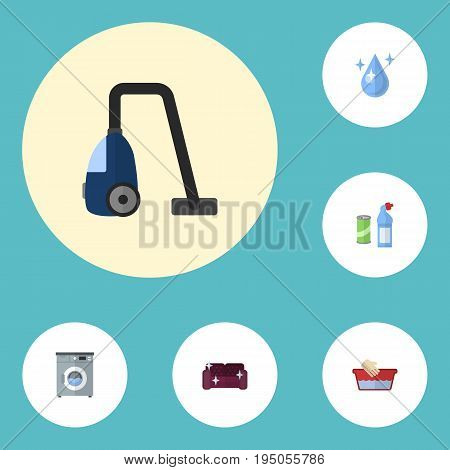 Flat Icons Sweeper, Sofa, Clothes Washing And Other Vector Elements. Set Of Cleaning Flat Icons Symbols Also Includes Basin, Aqua, Means Objects.