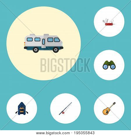 Flat Icons Zoom, Penknife, Music And Other Vector Elements. Set Of Camp Flat Icons Symbols Also Includes Caravan, Ship, Boat Objects.