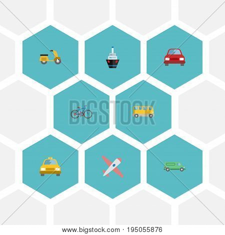 Flat Icons Automobile, Omnibus, Bicycle And Other Vector Elements. Set Of Auto Flat Icons Symbols Also Includes Car, Vehicle, Omnibus Objects.