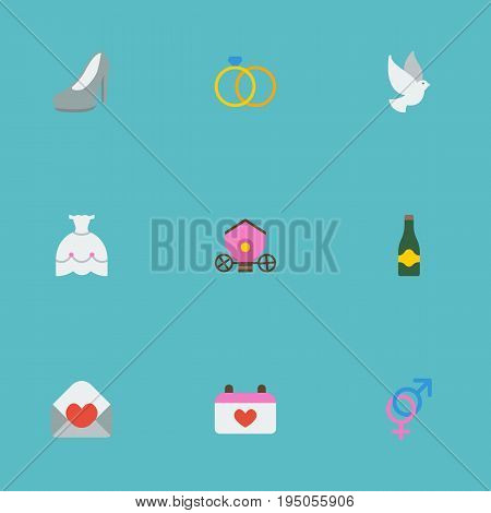 Flat Icons Chariot, Engagement, Pigeon And Other Vector Elements. Set Of Engagement Flat Icons Symbols Also Includes Dove, Wedding, Engagement Objects.