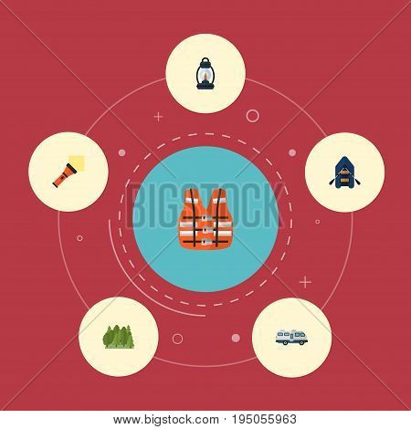 Flat Icons Ship, Wood, Lighter And Other Vector Elements. Set Of Camping Flat Icons Symbols Also Includes Wood, Forest, Pocket Objects.