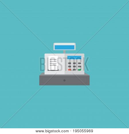 Flat Icon Cash Register Element. Vector Illustration Of Flat Icon Till Isolated On Clean Background. Can Be Used As Till, Cash And Register Symbols.