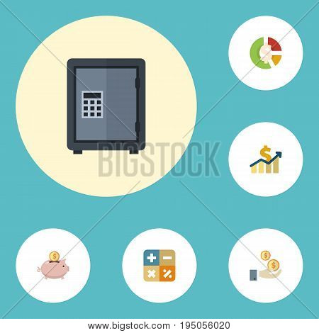 Flat Icons Net Income, Profit, Stock And Other Vector Elements. Set Of Accounting Flat Icons Symbols Also Includes Saving, Profit, Increase Objects.