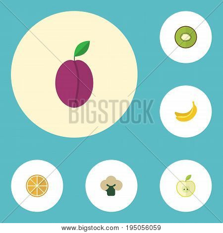 Flat Icons Apricot, Citrus, Exotic Dessert And Other Vector Elements. Set Of Dessert Flat Icons Symbols Also Includes Exotic, Apricot, Broccoli Objects.