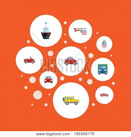 Flat Icons Luxury Auto, Truck, Jeep And Other Vector Elements. Set Of Auto Flat Icons Symbols Also Includes Transport, Vessel, Helicopter Objects.