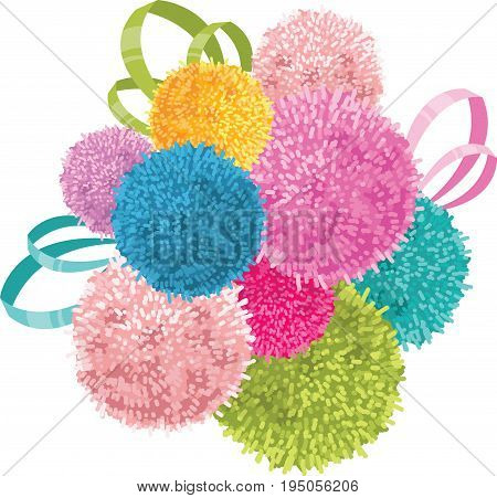 Vector Bunch of Colorful Baby Kids Birthday Party Pom Poms and Ribbons Element. Great for handmade cards, invitations, wallpaper, packaging, nursery designs. Home decor elements.
