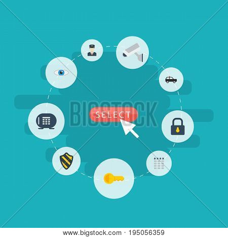 Flat Icons Shield, Keypad, Safe And Other Vector Elements. Set Of Safety Flat Icons Symbols Also Includes Vision, Security, Keypad Objects.