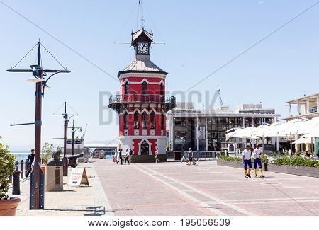 Cape Town South Africa - March 02 2017: Clock Tower at the Cape Town Harbour