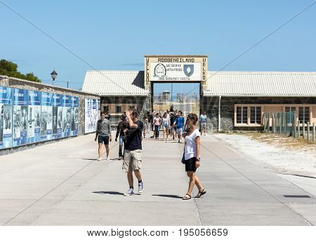 Cape Town South Africa - March 03 2017: Tourists at entrance to the prison on Robben Island