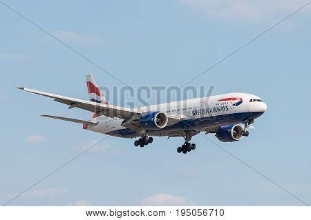 London UK - July 9 2017: Plane Boeing 777 British Airways landing at London Heathrow Airport