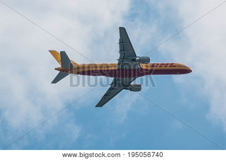 London UK - July 9 2017: DHL Cargo plane takes off from London Heathrow Airport