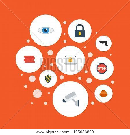 Flat Icons Brick Wall, Camera, Road Sign And Other Vector Elements. Set Of Procuring Flat Icons Symbols Also Includes Eye, Weapon, Closed Objects.