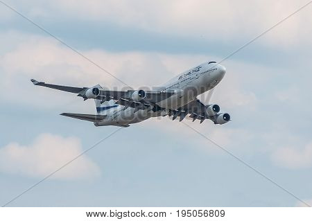 London UK - July 9 2017:Plane Boeing 747 Israel Airlines takes off from London Heathrow Airport