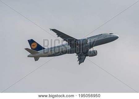 London UK - July 9 2017: Plane Airbus A320 Lufthansa Airlines takes off from London Heathrow Airport