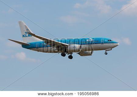 London UK - July 9 2017: Plane Boeing 737 KLM Airlines landing at London Heathrow Airport