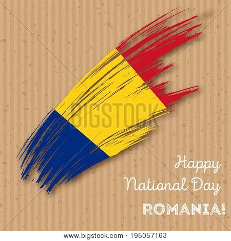 Romania Independence Day Patriotic Design. Expressive Brush Stroke In National Flag Colors On Kraft