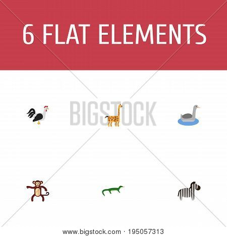 Flat Icons Camelopard, Rooster, Reptile And Other Vector Elements. Set Of Zoology Flat Icons Symbols Also Includes Gecko, Animal, Mammal Objects.
