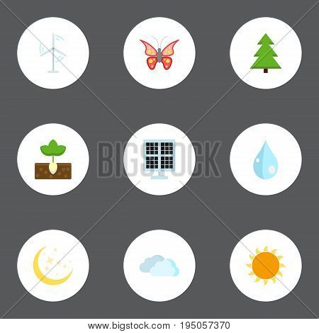 Flat Icons Sun Power, Tree, Beauty Insect And Other Vector Elements. Set Of Environment Flat Icons Symbols Also Includes Wind, Sky, Panel Objects.