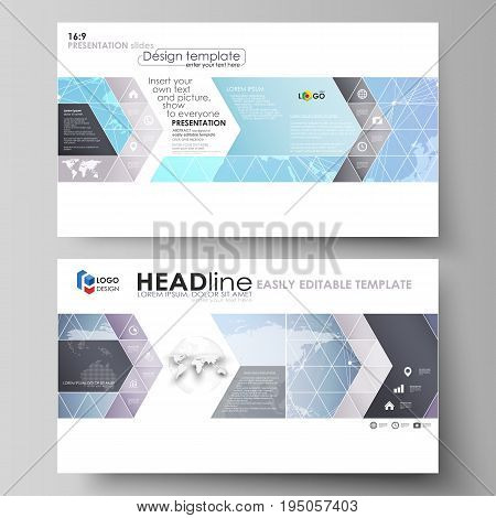 The minimalistic abstract vector illustration of the editable layout of high definition presentation slides design business templates. Polygonal texture. Global connections, futuristic geometric concept.