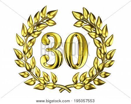 Illustration for the anniversary celebration - Golden figure of 30 (thirty) in a gold wreath isolated on a white background