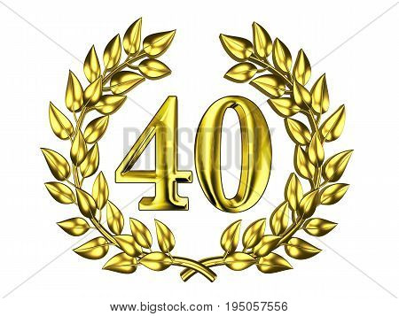 Illustration for the anniversary celebration - Golden figure of 40 (forty) in a gold wreath isolated on a white background