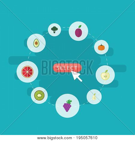 Flat Icons Duchess, Gourd, Orange And Other Vector Elements. Set Of Dessert Flat Icons Symbols Also Includes Orange, Kiwi, Gourd Objects.