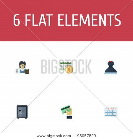 Flat Icons Deadline, Sheet, Safe And Other Vector Elements. Set Of Recording Flat Icons Symbols Also Includes Deadline, Booker, Card Objects.