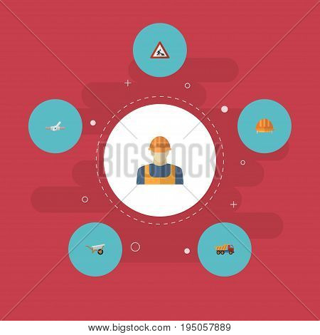 Flat Icons Van, Caution, Handcart Vector Elements. Set Of Industry Flat Icons Symbols Also Includes Helmet, Valve, Handcart Objects.