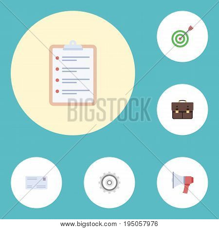 Flat Icons Portfolio, Task List, Loudspeaker And Other Vector Elements. Set Of Trade Flat Icons Symbols Also Includes Schedule, Cogwheel, Post Objects.