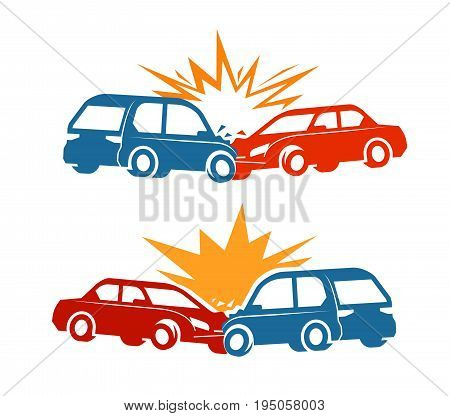 Car crash, traffic accident icon. Vector illustration isolated on white background