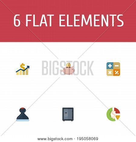 Flat Icons Algebra, Net Income, Mark And Other Vector Elements. Set Of Registration Flat Icons Symbols Also Includes Saving, Moneybox, Asset Objects.